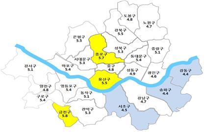 서울시 `17년 2분기 주택 전월세전환율 5.0%…전분기 대비 월세부담 소폭↓
